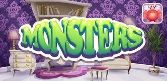 Beispiel des Stiefelschirmes für Computerspiele Monster lizenzfreie abbildung