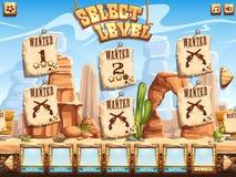 Beispiel des waagerecht ausgerichteten Auswahlschirmes für den Computerspiel wilden Westen lizenzfreie abbildung
