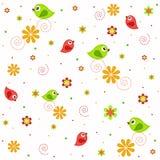 Beispielbeschaffenheiten mit Blumen und Vögeln Stockfoto