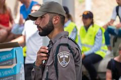 The men of Israel Border Police at independence day celebrating in National Police Academy. BEIT SHEMESH, ISRAEL - APRIL 19, 2018: The men of Israel Border stock photos