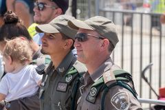 The persons of Israel Border Police at independence day celebrating in National Police Academy. BEIT SHEMESH, ISRAEL - APRIL 19, 2018: The persons of Israel royalty free stock photography