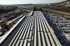 Solar Shopping Mall. Beit-Shemesh, Israel - December 28th, 2011: High & wide angle view to the north-west at the roof of the 'Big' shopping mall, located at the Royalty Free Stock Photo