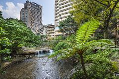 Beitou, Taipei. Taipei, Taiwan at Beitou hot springs district stock photo