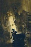 Beitrag-Apocalypsekonzept des Überlebenden, der auf einem ruinierten Gebäude sitzt lizenzfreie abbildung