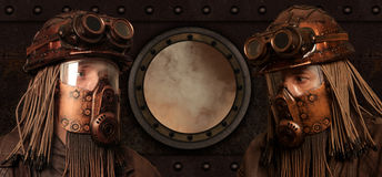 Beitrag-apokalyptisches futuristisches Konzept phantasie Steampunk lizenzfreies stockbild
