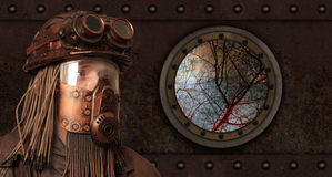 Beitrag-apokalyptisches futuristisches Konzept phantasie Steampunk lizenzfreie stockfotos