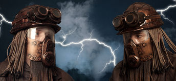 Beitrag-apokalyptisches futuristisches Konzept phantasie Steampunk lizenzfreie stockbilder