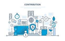 Beitrag, Investition, Ablagerungen, Sicherheitszahlungen, Lagerung der Finanzierung, Marketing, Einsparungen lizenzfreie abbildung