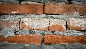 Beitrag mit Ziegelstein und Zement Stockbilder