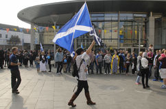 Beitrag Scottish Indy-Hinweis Demo Perth Scotland Großbritannien 2014 Stockbilder