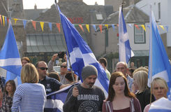 Beitrag Scottish Indy-Hinweis Demo Perth Scotland Großbritannien 2014 Stockfoto