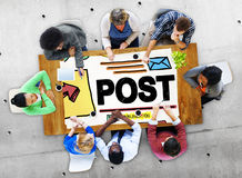 Beitrags-Blog-Social Media-Anteil-on-line-Kommunikations-Konzept Stockfoto