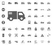 Beitrags-LKW-Ikone Gesetzte Ikonen des Transportes und der Logistik Gesetzte Ikonen des Transportes Lizenzfreie Stockbilder
