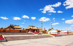Beizi temple-One of the four great old lamasery in Inner Mongolia. It was built in AD 1743. It is located in the Xilinguole, Inner Mongolia, China Stock Photography