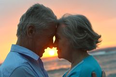 Bejaard paar bij zonsondergang Stock Fotografie