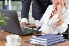 Bejaard paar die aan laptop werken stock afbeelding