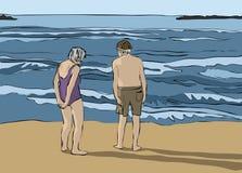 Bejaard paar die de horizon bekijken Royalty-vrije Stock Foto's