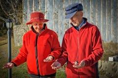 Bejaard paar die de vogels voeden Royalty-vrije Stock Afbeeldingen