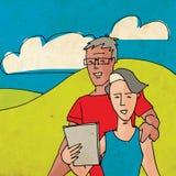 Bejaard Paar die een Tablet gebruiken Stock Foto's