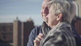 Bejaard paar die zich in openlucht bevinden Rijp echtpaar die in de zon communiceren Familieverhoudingen stock footage