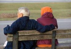 Bejaard paar in het park Stock Fotografie
