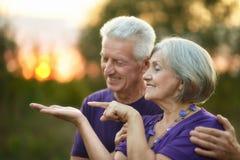 Bejaard paar in liefde Stock Foto