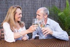 Bejaard paar met wijn Stock Afbeeldingen