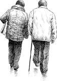 Bejaard paar op een gang Stock Afbeelding