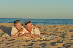 Bejaard paar op een strand Stock Afbeelding