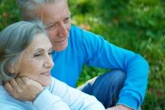 bejaard paar op het gras Royalty-vrije Stock Fotografie