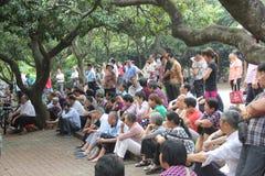 Bejaard publiek in het park Stock Fotografie