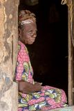 Bejaarde Afrikaanse vrouw stock foto