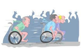 Bejaarde bij rolstoel het rennen   Royalty-vrije Stock Afbeeldingen