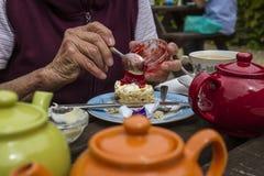 Bejaarde dame die room van thee genieten Royalty-vrije Stock Fotografie