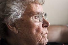 Bejaarde dame in jaren '70 Royalty-vrije Stock Foto