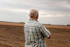 Bejaarde in de herfst stock afbeeldingen