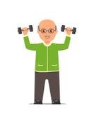 Bejaarde in de treinen van een sportenkostuum met domoren Actieve en gezonde levensstijl oude mensen vector illustratie