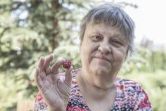 Bejaarde die bessen houden royalty-vrije stock foto