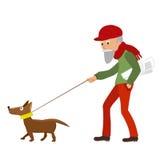 Bejaarde die met zijn hond lopen Vector illustratie stock illustratie