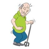 Bejaarde die Wandelstok met behulp van Royalty-vrije Stock Foto's