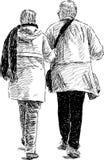 Bejaarde echtgenoten op een gang Royalty-vrije Stock Afbeelding