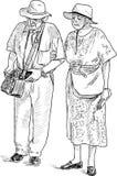 Bejaarde echtgenoten op een wandeling Stock Foto's
