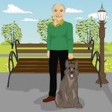 Bejaarde en zijn hond in park in de zomer vector illustratie
