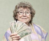 Bejaarde gelukkige vrouw Stock Fotografie