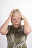Bejaarde geschokte dame Royalty-vrije Stock Foto's