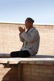 Bejaarde - het Oezbekistaanse bidden Royalty-vrije Stock Afbeeldingen