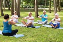 Bejaarde mensen die op matten in een park zitten Royalty-vrije Stock Foto