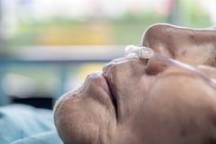Bejaarde met neus ademhalingsbuis stock afbeelding