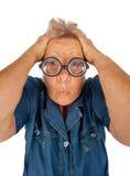 Bejaarde met verraste uitdrukking Stock Foto
