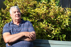 Bejaarde met in verwarring gebrachte gelaatsuitdrukking. Stock Foto's
